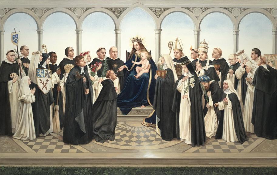 Santo-santa Dominikan bersama bunda Maria dan bayi Yesus