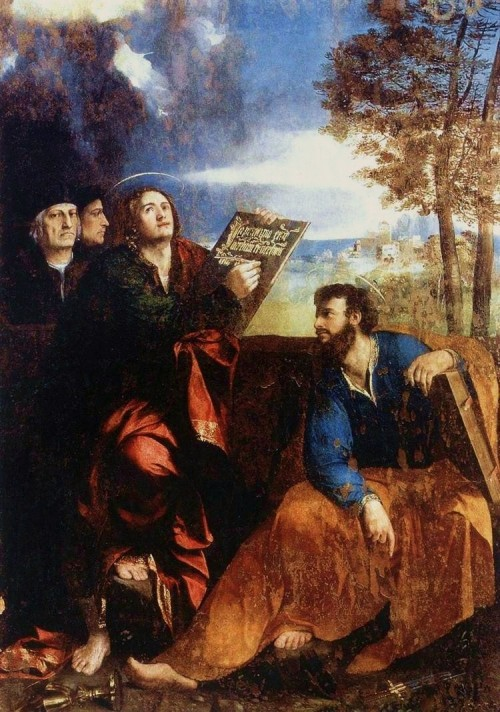 "Dosso Dossi [Public domain], <a href=""https://commons.wikimedia.org/wiki/File:Sts-john-and-bartholomew-with-donor-dosso-dossi.jpg"" target=""_blank"">via Wikimedia Commons</a>"