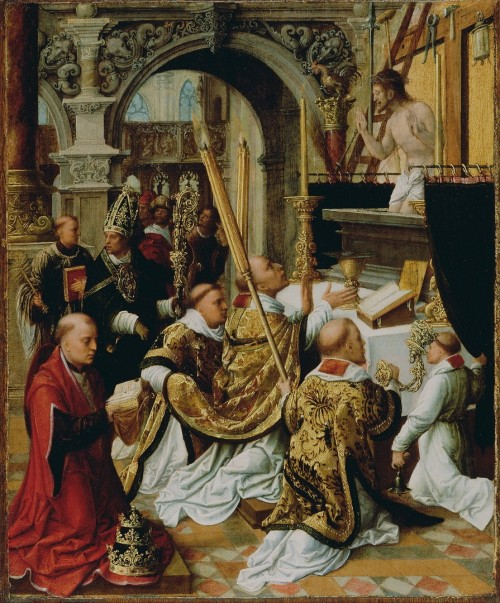 "Getty Center [Public domain], <a href=""https://commons.wikimedia.org/wiki/File:Adriaen_Ysenbrandt_(Netherlandish,_active_1510_-_1551)_-_The_Mass_of_Saint_Gregory_the_Great_-_Google_Art_Project.jpg""  target=""_blank"">via Wikimedia Commons</a>"