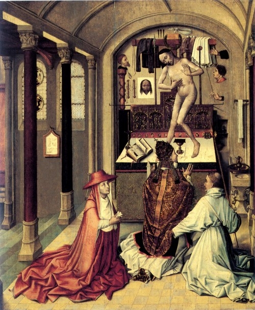 "Robert Campin [Public domain], <a href=""https://commons.wikimedia.org/wiki/File:Mass_of_Saint_Gregory_(1440)_by_Robert_Campin.jpg""  target=""_blank"">via Wikimedia Commons</a>"