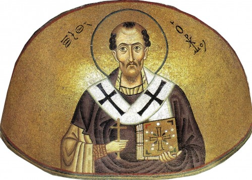 "Anonymous / Unknown author [Public domain], <a href=""https://commons.wikimedia.org/wiki/File:Hosios_Loukas_(nave,_south_east_conch)_-_John_Chrysostom.jpg""  target=""_blank"">via Wikimedia Commons</a>"