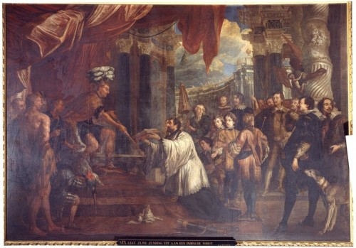 """Jan Michiel Coxie [Public domain], <a href=""""https://commons.wikimedia.org/wiki/File:Jan_Michiel_Coxie_-_St_Francis_explains_his_mission_to_the_Indian_king.jpg""""  target=""""_blank"""">via Wikimedia Commons</a>"""