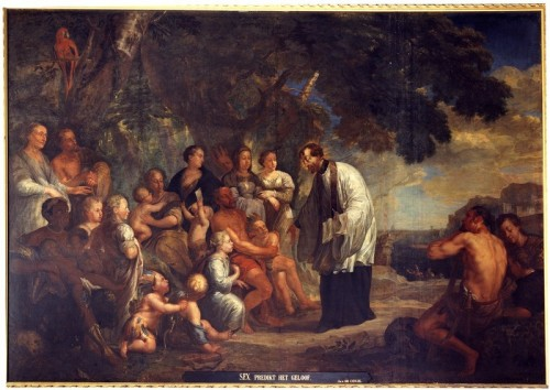 "Jan Michiel Coxie [Public domain], <a href=""https://commons.wikimedia.org/wiki/File:Jan_Michiel_Coxie_-_St_Francis_preaches_the_faith.jpg""  target=""_blank"">via Wikimedia Commons</a>"