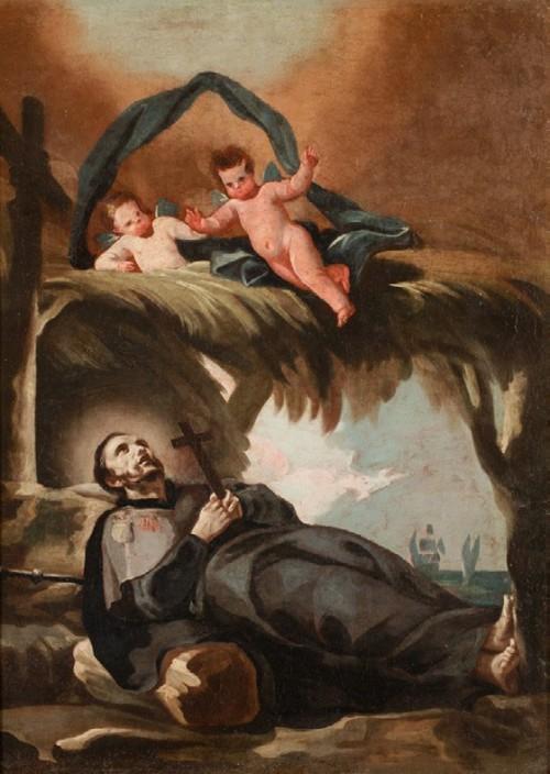 """Francisco Goya [Public domain], <a href=""""https://commons.wikimedia.org/wiki/File:Muerte_de_san_Francisco_Javier.jpg""""  target=""""_blank"""">via Wikimedia Commons</a>"""