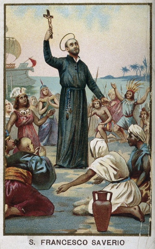 """See page for author [<a href=""""https://creativecommons.org/licenses/by/4.0""""  target=""""_blank"""">CC BY 4.0</a>], <a href=""""https://commons.wikimedia.org/wiki/File:Saint_Francis_Xavier_holding_a_crucifix,_surrounded_by_Wellcome_V0031972.jpg""""  target=""""_blank"""">via Wikimedia Commons</a>"""