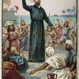 Saint_Francis_Xavier_holding_a_crucifix_surrounded_by_Wellcome_V0031972_resize