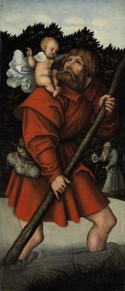 "Workshop of Lucas Cranach the Elder [Public domain], <a href=""https://commons.wikimedia.org/wiki/File:Lucas_Cranach_d.%C3%84._(Werkst.)_-_Der_heilige_Christophorus_tr%C3%A4gt_das_Jesuskind.jpg""  target=""_blank"">via Wikimedia Commons</a>"