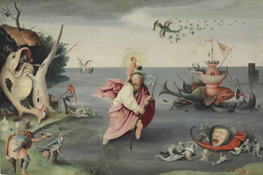"Follower of Hieronymus Bosch [Public domain], <a href=""https://commons.wikimedia.org/wiki/File:Saint_Christopher_carrying_the_Christ_Child_through_a_sinful_world_(follower_of_Hieronymus_Bosch).png""  target=""_blank"">via Wikimedia Commons</a>"