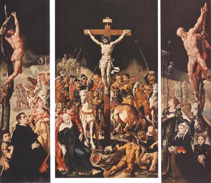 """Maarten van Heemskerck [Public domain], <a href=""""https://commons.wikimedia.org/wiki/File:Maarten_van_Heemskerck_-_Crucifixion_(Triptych)_-_WGA11313.jpg""""  target=""""_blank"""">via Wikimedia Commons</a>"""