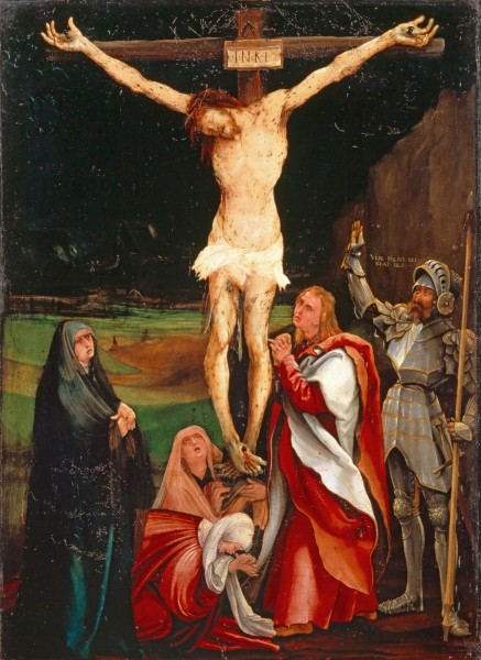 "Mathias Grünewald [Public domain], <a href=""https://commons.wikimedia.org/wiki/File:Matthias_Gr%C3%BCnewald_-_Die_Kreuzigung_Christi_(Kunstmuseum_Basel).jpg""  target=""_blank"">via Wikimedia Commons</a>"