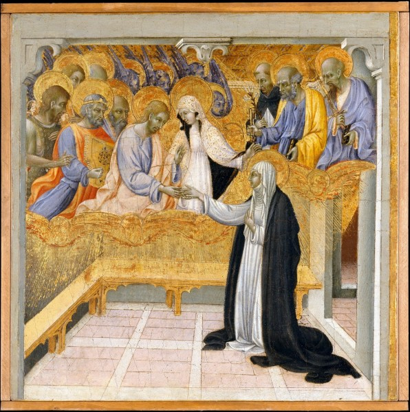 "Giovanni di Paolo [Public domain], <a href=""https://commons.wikimedia.org/wiki/File:Giovanni_di_Paolo_The_Mystic_Marriage_of_Saint_Catherine_of_Siena.jpg""  target=""_blank"">via Wikimedia Commons</a>"