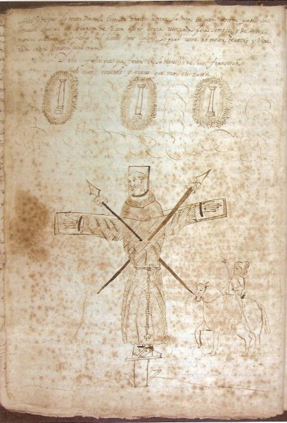 """Miquel Parets (Barcelona 1610 - Barcelona 1661) [Public domain], <a href=""""https://commons.wikimedia.org/wiki/File:Frare_crucificat.jpg""""  target=""""_blank"""">via Wikimedia Commons</a> <br /> <b>Keterangan :</b> Drawing by Miquel Parets in his chronicle for remembering the martyrdom of 26 Catholic monks (23 Franciscans and 3 Jesuits) crucified in Nagasaki (Japan) on 5th February 1597 during the reign of Hideyoshi Toiotomi. Between 5th and 7th February 1628 Barcelona commemorated the martyrdom of the 26 religious: Parets described the sentence that was applied as it was explained to the people: """"And all they together were crucified with hands, feet and necks tied with rings, and were stuck with two spears each one, as indicated in this drawing. And during the martyred three columns of fire appeared in the air."""""""