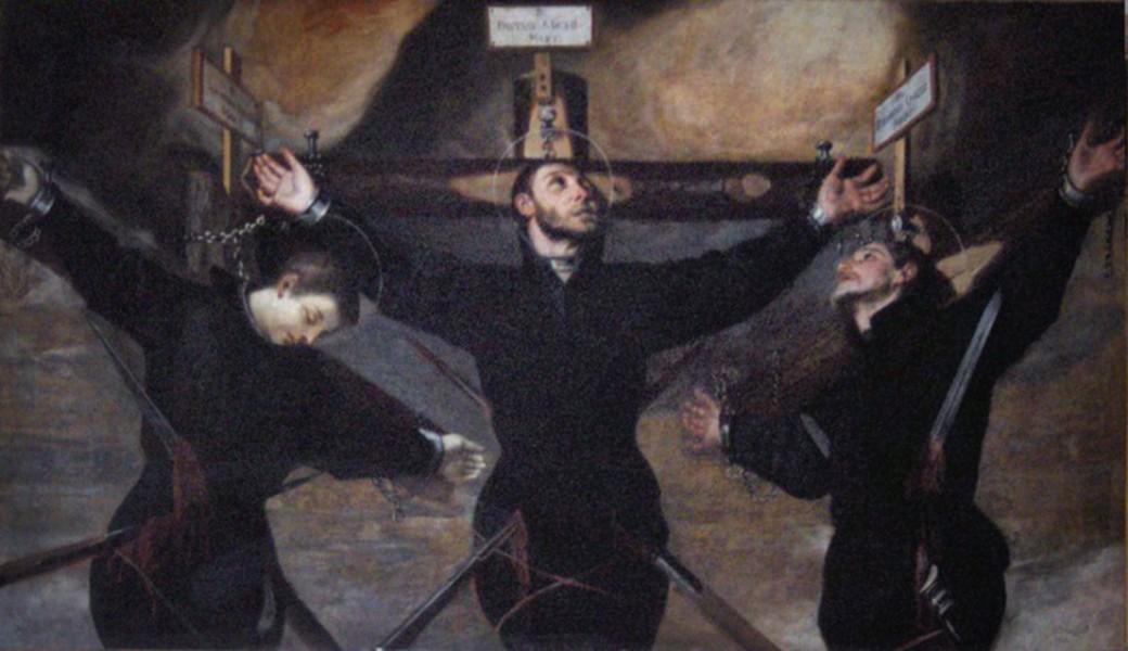 "Guido Cagnacci [Public domain], <a href=""https://commons.wikimedia.org/wiki/File:Guido_Cagnaccio_-_Three_Jesuit_martyrs_in_Japan.jpg""  target=""_blank"">via Wikimedia Commons</a>"