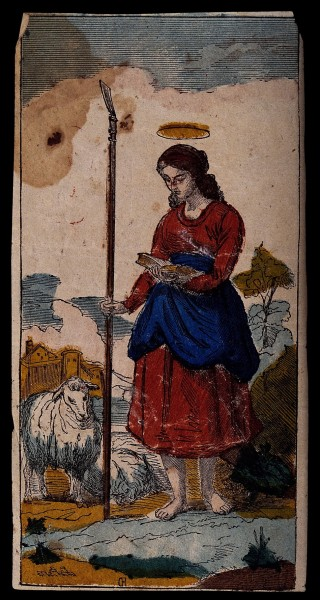 "See page for author [<a href=""https://creativecommons.org/licenses/by/4.0""  target=""_blank"">CC BY 4.0</a>], <a href=""https://commons.wikimedia.org/wiki/File:Saint_Genevieve._Coloured_wood_engraving_by_C.R._(%3F)_Wellcome_V0033228.jpg""  target=""_blank"">via Wikimedia Commons</a>"