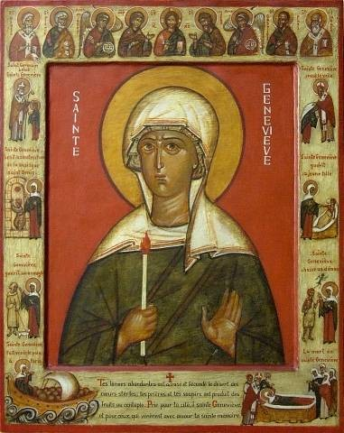 "AnonymousUnknown author [Public domain], <a href=""https://commons.wikimedia.org/wiki/File:Sainte_Genevieve_icon.jpg""  target=""_blank"">via Wikimedia Commons</a>"