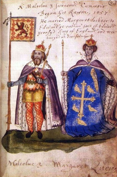 """See page for author [<a href=""""https://creativecommons.org/licenses/by-sa/3.0""""  target=""""_blank"""">CC BY-SA 3.0</a>], <a href=""""https://commons.wikimedia.org/wiki/File:Malcolm_III_and_Queen_Margaret_from_the_Seton_Armorial,_1591.jpg""""  target=""""_blank"""">via Wikimedia Commons</a>"""