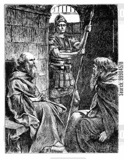 """George du Maurier [Public domain], <a href=""""https://commons.wikimedia.org/wiki/File:St_Paul_and_Onesimus_in_prison.jpg""""  target=""""_blank"""">via Wikimedia Commons</a>"""
