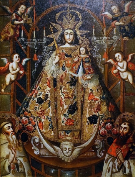 "Daderot [Public domain], <a href=""https://commons.wikimedia.org/wiki/File:Our_Lady_of_Mercy_with_Saints_Peter_Nolasco_and_Raymond_Nonnatus,_artist_unknown,_Cuzco,_Peru,_18th_century,_oil_on_canvas_-_Blanton_Museum_of_Art_-_Austin,_Texas_-_DSC08106.jpg"" target=""_blank"">via Wikimedia Commons</a>"