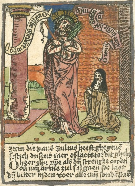 """Saint Brigid of Kildare (or Brigid of Ireland) is one of Ireland's patron saints, along with Patrick and Columban. She was an early Irish Christian nun, abbess, and foundress of several monasteries of nuns, including that of Kildare in Ireland, which was famous and was revered.  <a href=""""https://commons.wikimedia.org/wiki/File:Anonymous_Man_of_Sorrows_and_Saint_Bridget.jpg"""" title=""""via Wikimedia Commons"""" target=""""_blank"""">Anonymous (printmaker)</a> [Public domain]"""