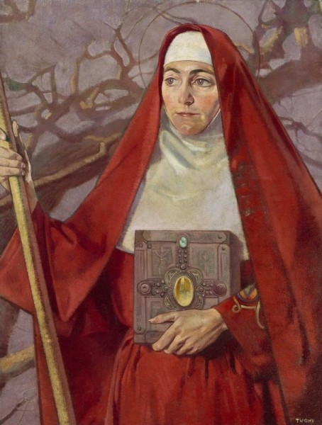 """Saint Brigid of Kildare (or Brigid of Ireland) is one of Ireland's patron saints, along with Patrick and Columban. She was an early Irish Christian nun, abbess, and foundress of several monasteries of nuns, including that of Kildare in Ireland, which was famous and was revered.  <a href=""""https://commons.wikimedia.org/wiki/File:Saint_Brigid_by_Patrick_Joseph_Tuohy.jpg"""" title=""""via Wikimedia Commons"""" target=""""_blank"""">Patrick Joseph Tuohy</a> [Public domain]"""