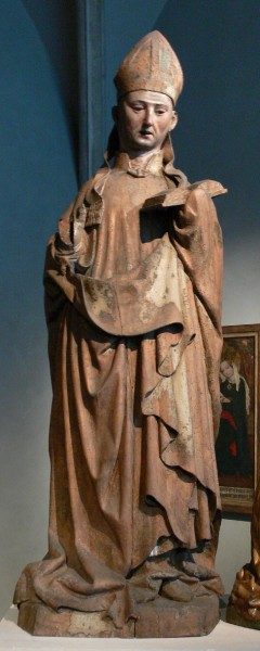 Figure of St. Korbinian from the high altar retable of the Freising Cathedral, donated by Bishop Nicodemus della Scala in 1443, made by Jakob Kaschauer; Limewood