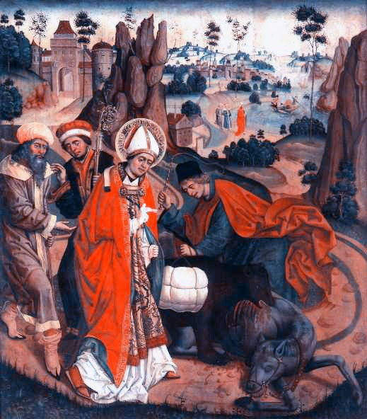 """Painting of Saint Corbinian (Korbinian) - Saint Corbinian of Freising as bishop when crossing the Alps on the way to Rome in 710 (his second trip to Rome)  <a href=""""https://commons.wikimedia.org/wiki/File:Corbinian_polack.jpg"""" title=""""via Wikimedia Commons"""" target=""""_blank"""">Jan Polack</a> / Public domain"""