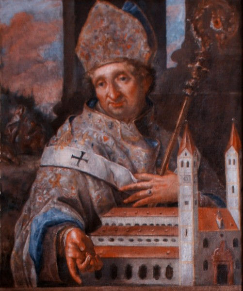Portrait painting of St. Korbinian, Bishop of Freising, in the prince's aisle between the Prince-Bishop's residence and Freising Cathedral.