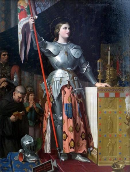 """Jean-auguste-dominique ingres, giovanna d'arco alla consacrazione di re carlo VII nella cattedrale di reims, 1855  <a href=""""https://commons.wikimedia.org/wiki/File:Jean-auguste-dominique_ingres,_giovanna_d%27arco_alla_consacrazione_di_re_carlo_VII_nella_cattedrale_di_reims,_1855,_01.jpg"""" title=""""via Wikimedia Commons"""" target=""""_blank"""">Jean Auguste Dominique Ingres</a> / <a href=""""https://creativecommons.org/licenses/by/3.0"""" target=""""_blank"""">CC BY</a>"""