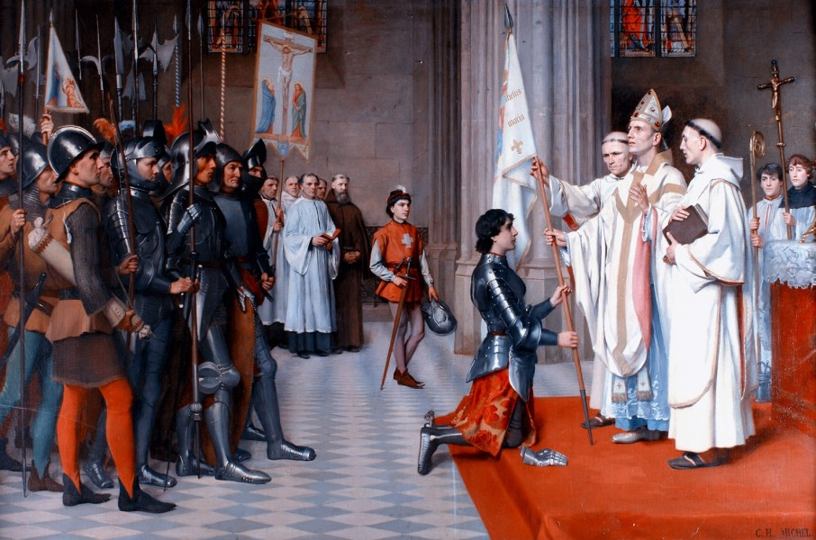 "Joan of Arc having her Blessed in Blois by Charles-Henri Michel, 1901, Château royal de Blois  <a href=""https://commons.wikimedia.org/wiki/File:Charles-Henri_Michel_Jeanne_d%27Arc_Blois.jpeg"" title=""via Wikimedia Commons"" target=""_blank"">Charles-Henri Michel (1817-1905)</a> / Public domain"