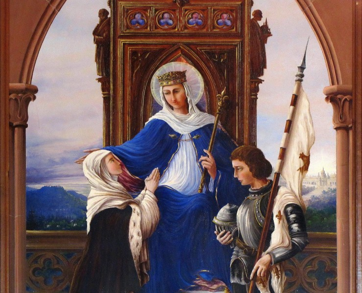 "Alsace, Bas-Rhin, Reichshoffen, Wohlfahrtshoffen, Notre-Dame-du-Bon-Secours Chapel (IA00123509): Detail of the painting (20th century) by Paul Rudloff ""Virgin blessing Bernadette Soubirous and Joan of Arc"".   <a href=""https://commons.wikimedia.org/wiki/File:Reichshoffen_ChWohlfahrtshoffen_16.JPG"" title=""via Wikimedia Commons"" target=""_blank"">© Ralph Hammann - Wikimedia Commons</a> / <a href=""https://creativecommons.org/licenses/by-sa/4.0"" target=""_blank"">CC BY-SA</a>"