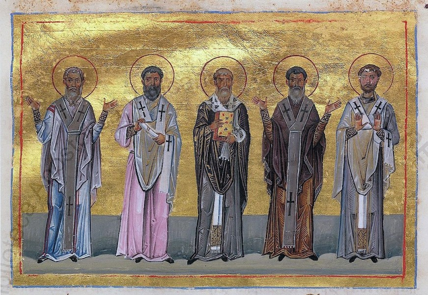 """Patrobulus, Hermas, Linus, Caius, Philologus of 70 disciples (Menologion of Basil II)  <a href=""""https://commons.wikimedia.org/wiki/File:Patrobulus,_Hermas,_Linus,_Caius,_Philologus_of_70_disciples_(Menologion_of_Basil_II).jpg"""" title=""""via Wikimedia Commons"""" target=""""_blank"""">AnonymousUnknown author</a> / Public domain"""