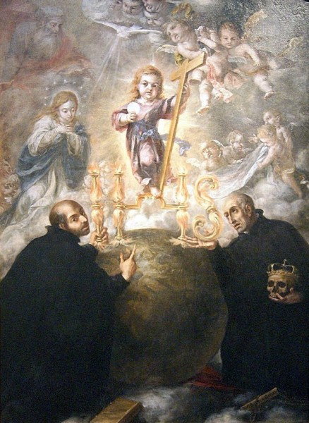 Saint Ignatius of Loyola, the founder of the Society of Jesus, and Saint Francis of Borja, who would become general of said Society, contemplating an allegory of the Eucharist.