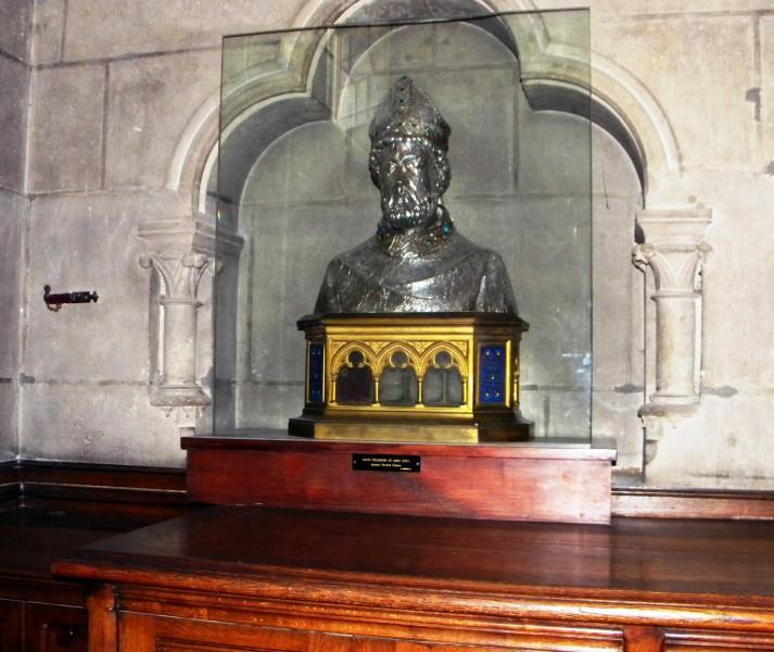 """Bust-reliquary of Saint Denis de Paris - Cathedrale Notre Dame, Paris, France  <a href=""""https://commons.wikimedia.org/wiki/File:Paris,_France,_Cathedrale_Notre_Dame,_Tresorerie,_Saint_Denis_buste.jpg""""  target=""""_blank"""">Britchi Mirela</a>, <a href=""""https://creativecommons.org/licenses/by-sa/3.0"""" target=""""_blank"""">CC BY-SA 3.0</a>, via Wikimedia Commons"""