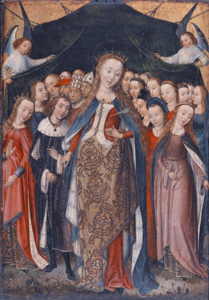 """Saint Ursula Protecting the Eleven Thousand Virgins with Her Cloak  <a href=""""https://commons.wikimedia.org/wiki/File:THE_MASTER_OF_THE_LEGEND_OF_SAINT_BARBARA_SAINT_URSULA_PROTECTING_THE_ELEVEN_THOUSAND_VIRGINS_WITH_HER_CLOAK.jpg"""" target=""""_blank"""">Master of the Legend of Saint Barbara, or Master of the Saint Barbara Legend (active Brussels 1470-1500)</a>, Public domain, via Wikimedia Commons"""