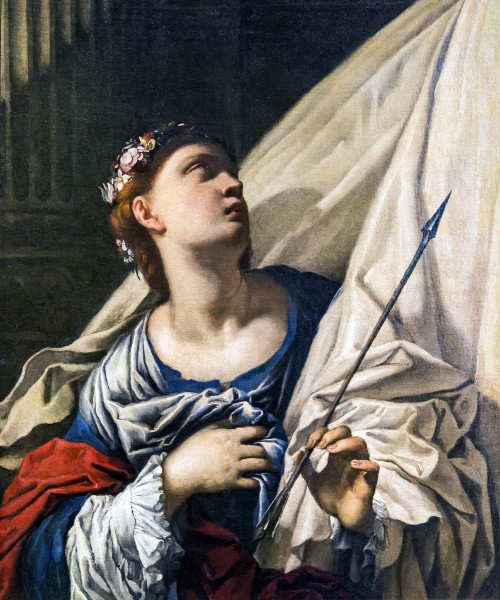 """Saint Ursula by Francesco Ruschi, First half of the 17th century, Gallerie dell'Accademia in Venice. Oil on canvas. Initially in the convent of San Zanipolo.  <a href=""""https://commons.wikimedia.org/wiki/File:Accademia_-_Saint_Ursula_by_Francesco_Ruschi.jpg"""" target=""""_blank"""">Gallerie dell&#039;Accademia</a>, <a href=""""https://creativecommons.org/licenses/by-sa/4.0"""" target=""""_blank"""">CC BY-SA 4.0</a>, via Wikimedia Commons  <br /> <h1 style=""""color:red""""><b>WARNING!</b></h1> <p style=""""color:red"""">This file is copyrighted and has been released under a license which is incompatible with Facebook's licensing terms.  <br /> <b>It is not permitted to upload this file at Facebook.</b></p>"""