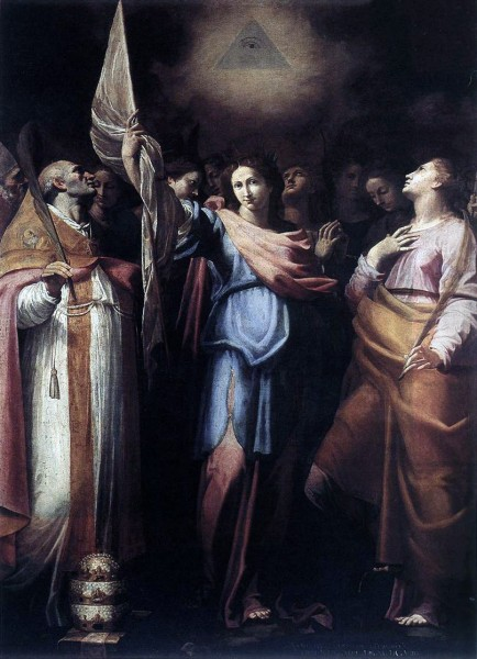 Bartolomeo Cavarozzi - St Ursula and Her Companions with Pope Ciriacus and St Catherine of Alexandria