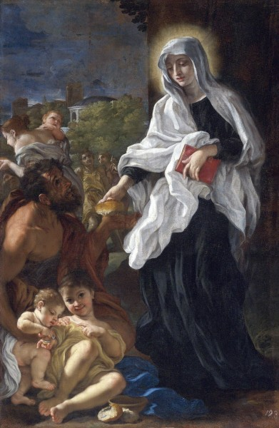 Saint  Frances of Rome giving alms - Painting by Giovanni Battista Gaulli, 1675 